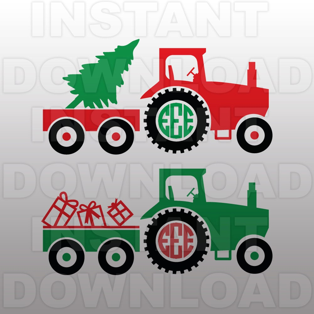 Christmas Svgfarm Tractor Monogram Svg File Cutting