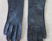 Vintage 50s Black Vinyl Top Embroidered Gloves Made in Japan Vegan