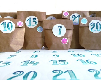 Advent calendar set - 24 handstamped stickers 1-24 + 24 brown paperbags + 20 handstamped stickers for decoration