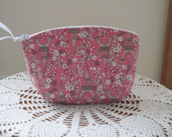 Essential Oils Clutch Cosmetic Bag  Purse Paris in Spring Pink
