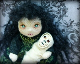 Mallorie and her Dolly - An OOAK Goth Art Doll