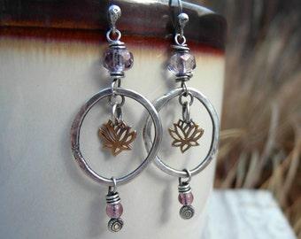Amethyst Hoops Organic Silver Lotus Earrings 11151