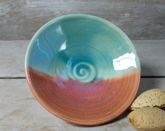 Raindrop Pot, Tiny Stoneware Bowl, Blue Green and Burnt Orange, Landscape, Handmade Stoneware, Miniature Offering Ritual Altar,Ready to Ship