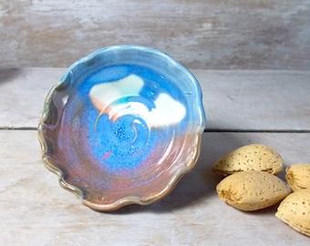Raindrop Pot, Tiny Stoneware Bowl, Nutmeg, Mint, and Blue, Handmade Stoneware Small Bowl, Little pill holder, Fairy bowl, , Ready to Ship