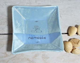 Namaste, Weathered Blue Square Plate or Shallow Bowl, DISCOUNTED SECOND, Lotus, Small Serving Dish, Ready to Ship