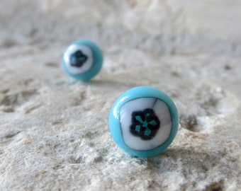 Fused Glass Earrings in Turquoise Blue, White and Black and Sterling Silver posts, Stud Earrings, Post Earrings