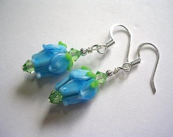 Aqua Blue Rose Earrings Lampwork Glass Swarovski Crystal Silver Plate French Hooks Wire Wrapped Dangle Earrings