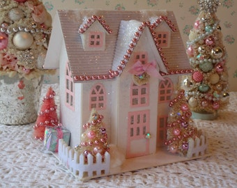 PINK Putz Cottage House - Lighted with Bottle Brush Trees