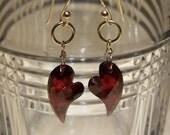 SALE...Garnet faceted heart briolette, 14k solid gold , 14k gold French earwire earrings