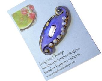 Periwinkle blue paisley glass button, two hole lampwork glass button, fiber embellishment, handmade glass button, glassbead