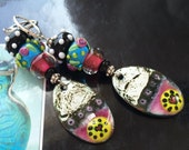 Earrings,  Hearts and Flowers, torch fired enamel and artisan Lampwork