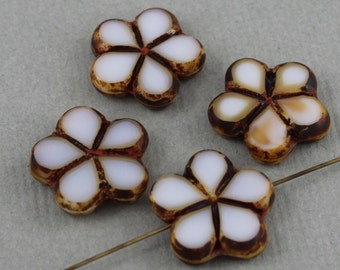 White Czech glass table cut flower beads with brown picasso finish edge - 17mm - 4 pcs - FB261