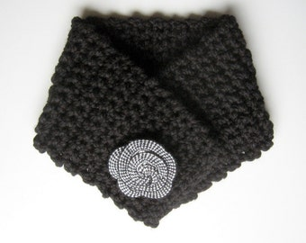 Scarf, Cowl, Neck Cozy Neck Warmer with Fiber Flower - Woman's Scarf - Black - Tweed - Winter