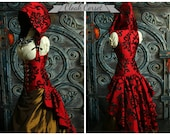 Custom Fit To You-Cloak Vixen Corset with Huge Ruffle and Hood