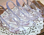 Cinderella Slippers.Set of 4.Embellishments.Kit.Clear Plastic High Heel Pumps.Shoes.Wedding.Birthday Party.Bridal Shower.Girl.Plastic.heels