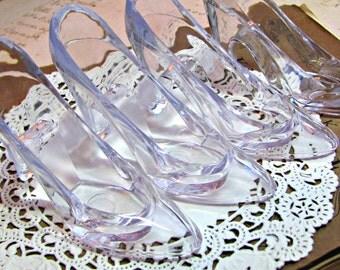 Cinderella Slippers.Set of 4.Embellishments.Kit.Clear Plastic High Heel Pumps.Shoes.Wedding.Birthday Party.Bridal Shower.Girl.Plastic.heels