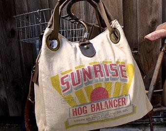 Sunrise Hog Balancer- St Paul, Minnesota - Open Tote - Americana OOAK Canvas & Leather Tote W- vtg fabric... Selina Vaughan Studios
