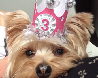 Girl Dog Birthday Crown- Party Hat