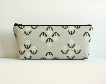 Makeup Bag, Cosmetic Case, Zipper Pouch, Toiletry Storage, Black and White, Cotton + Steel Collection
