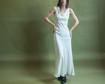 white bias cut empire waist dress / corset back maxi dress / simple wedding dress / s / m / 1996d / B3