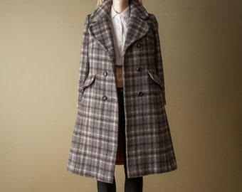 quince 70s plaid pea coat / brushed wool coat / fitted winter coat / s / 965o