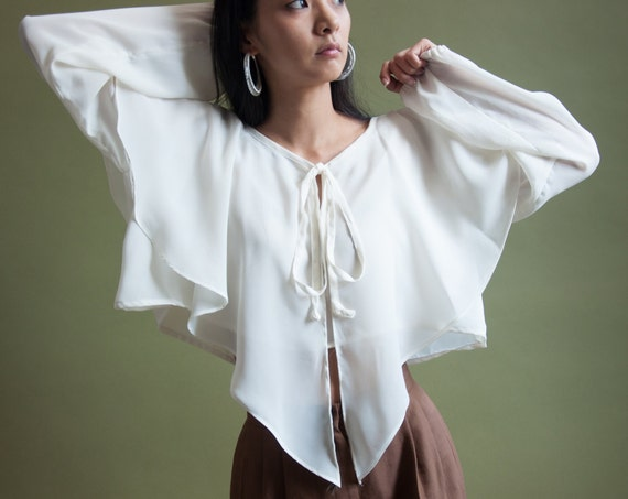 White Ruffle Collar Crop Top Blouse Ruffle Sleeve Blouse