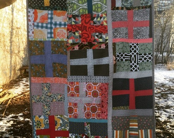 cotton crosses quilt --- large throw quilt -- modern improv