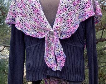 ON SALE Gorgeous Wildflower Shawl Hand Crocheted 50/50 Silk/Rayon Boucle Yarn Rose Cornflower Blue Lavender Sage Green