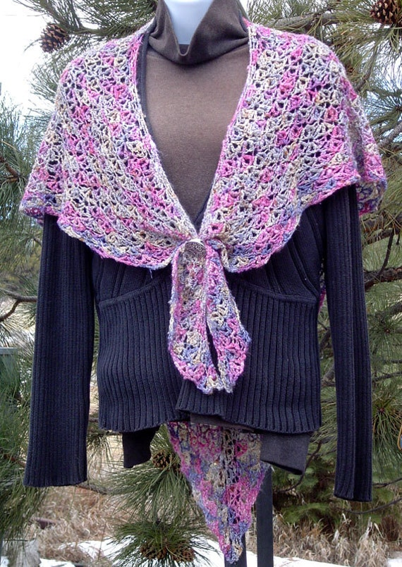 ON SALE Gorgeous Wildflower Shawl Hand Crocheted 50/50 Silk/Rayon Boucle Yarn Rose Cornflower Blue Lavender Sage Green