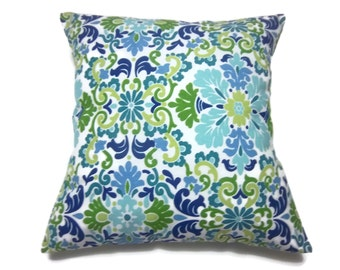 Decorative Pillow Cover Damask Design teal Kiwi Lime Green Indigo Blue Ivory Toss Throw Accent Same Fabric Front/Back 18x18 inch x