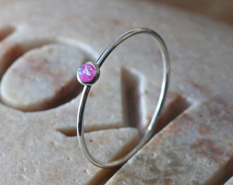 Thin Pink or Blue Opal Stacking Ring 3 mm, Sterling Silver Ring, Size 2 to 15, Simulated Opal Ring, October Birthstone Ring, Skinny Ring