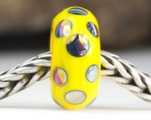 Sunshine Yellow Dotty Lustre Bead Handcrafted Lampwork Glass European Charm Big Holed Bead by Clare Scott SRA