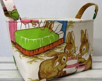 Storage and Organization  - Peter Rabbit Fabric - Vintage Beatrix Potter Fabric - Fabric Organizer Bin Storage Container Basket