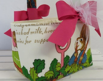 Peter Rabbit Fabric - Vintage Beatrix Potter Fabric - Easter Basket Candy Bucket Bin Storage Container