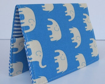 Passport Holder Cover Case Cruise Travel Holiday - Cream Elephants on Blueberry Blue