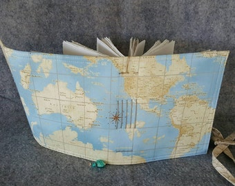 World Map Wrap Journal, Fabric,  Travel