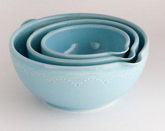 READY TO SHIP - Batter Bowl Set - Nesting Mixing Bowls - Aqua