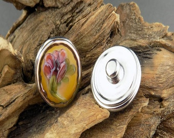 Floral Fantasy Snap Button Ivory Pink Orange Mix Silvered Glass