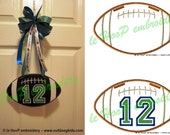 HANGING FOOTBALL Machine Embroidery In Hoop Design 4x4 5x7 6x10 7x12 10x14 ITH  Superbowl 12 Fan Seahawk Seattle Patriots