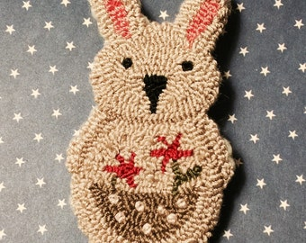 Primitive Needle Punch Pin Spring Bunny and Pocket Of Pink Flowers