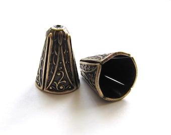 Antiqued Brass Art Nouveau Style Bead Caps or Cones, 14mm x 10mm - 2 pieces