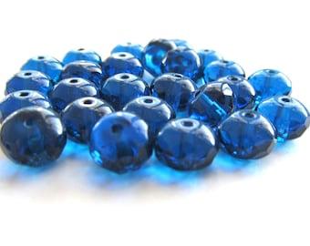 Capri Blue Czech Glass Faceted Rondelles, 8mm x 6mm - 25 pieces