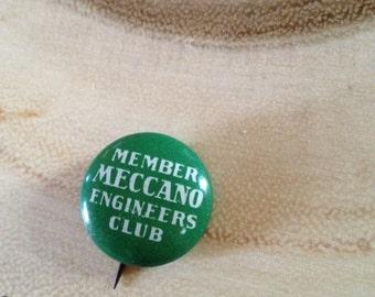 Vintage Meccano Engineers Club Pinback Button