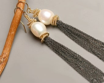 Long Pearl Tassel Earrings, Tuxedo Tassels the Long Version Statement Earrings