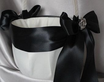 Large-White or Ivory Flower Girl Basket -Black Satin Ribbon-Custom Ribbon Colors-Your Choice Brooch-Flower Girls Age 8+