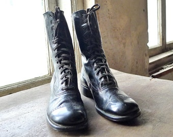 Children's Liberty Bell Black Lace Boots by Selz of Chicago Size 13.5