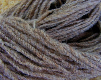 Y061 Hand Processed and Spun Natural Colored Dark Oatmeal Wool Yarn