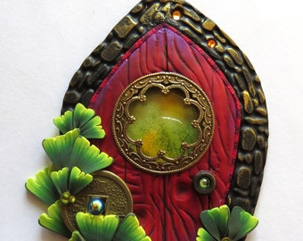 Zen Garden Fairy Door, Ginkgo Pixie Portal , Home and Garden Decor, Polymer Clay Door, Tooth Fairy Entrance