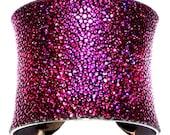 Metallic Genuine Stingray Cuff Bracelet in Magenta