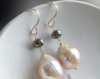 ON SALE 15% OFF 14K Kasumi Like Pearls with Pyrite